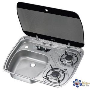Cocina-fregadero de gas Tapa de cristal Dometic
