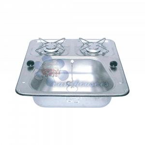 Combinación Fregadero-Cocina 48×46 cm 2 Fuegos – Acero Inoxidable