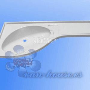 Estante de Lavabo de Esquina Derecho Blanco (840x375x150mm)