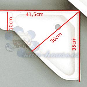 Lavabo de Esquina (415 x 350 x 60 mm) ABS Blanco