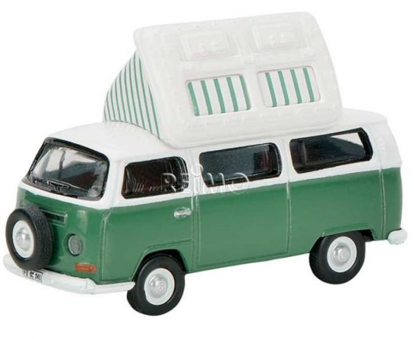 Modelo de automóvil VW T2aBus Camper, con el techo abierto + repuesto, color: verde