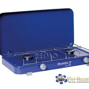 Cocina de gas Rumba con encendido eléctrico 2Fl. azul, 50mbar