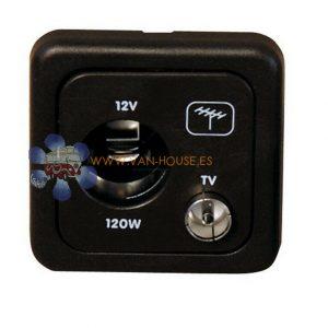 Enchufe 12V.C + Antena Gris Oscuro (CON MARCO)