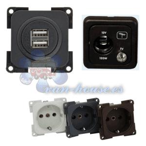 Tomas 12V, 230V, USB y conectores