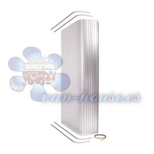 Conjunto de Puerta de Ducha con Persiana Enrollable Plateado (con Rieles de montaje) RECORTABLE