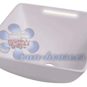 Lavabo Cuadrado Blanco con Iluminación LED ( 290x290mm H135mm)